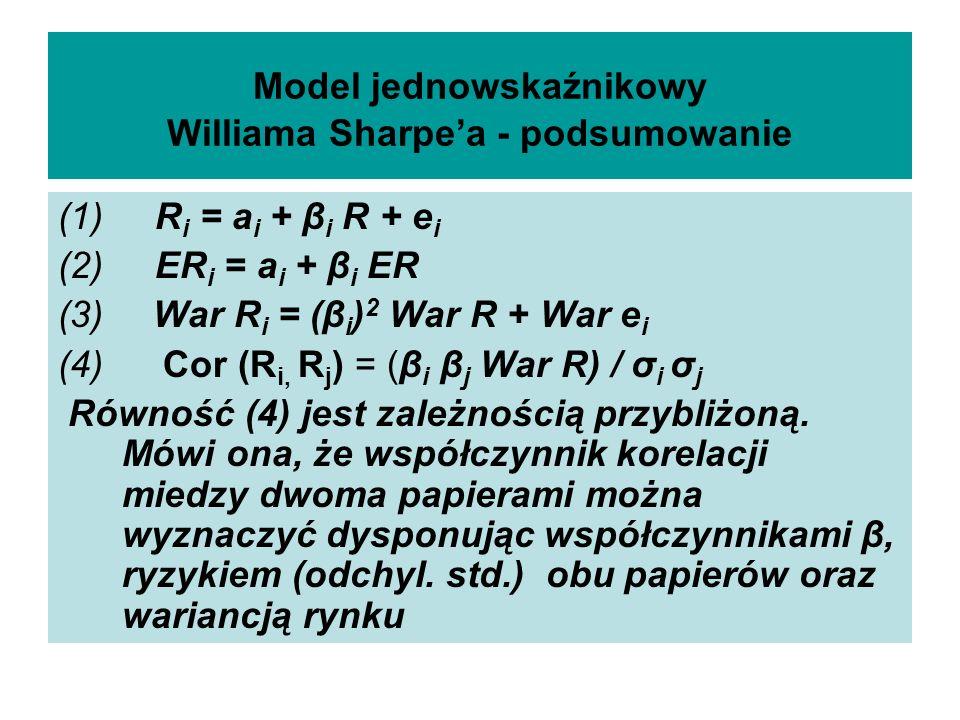Model jednowskaźnikowy Williama Sharpea - podsumowanie (1) R i = a i + β i R + e i (2) ER i = a i + β i ER (3) War R i = (β i ) 2 War R + War e i (4) Cor (R i, R j ) = (β i β j War R) / σ i σ j Równość (4) jest zależnością przybliżoną.