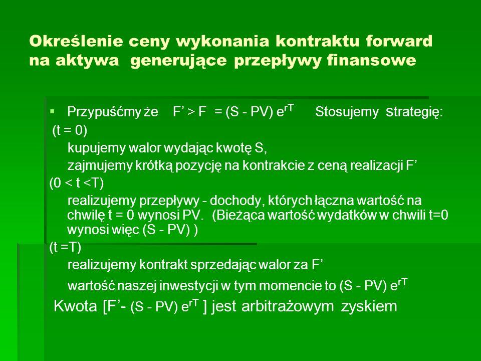 Określenie ceny wykonania kontraktu forward na aktywa generujące przepływy finansowe Przypuśćmy że F > F = (S - PV) e rT Stosujemy s trategię: (t = 0)