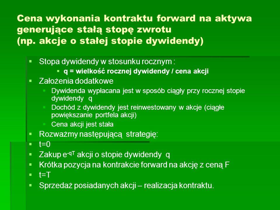 Cena wykonania kontraktu forward na aktywa generujące stałą stopę zwrotu (np. akcje o stałej stopie dywidendy) Stopa dywidendy w stosunku rocznym : q