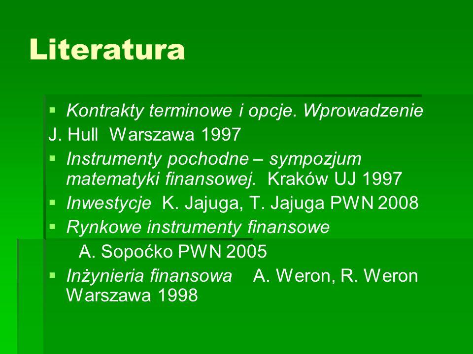 Literatura Kontrakty terminowe i opcje. Wprowadzenie J. Hull Warszawa 1997 Instrumenty pochodne – sympozjum matematyki finansowej. Kraków UJ 1997 Inwe