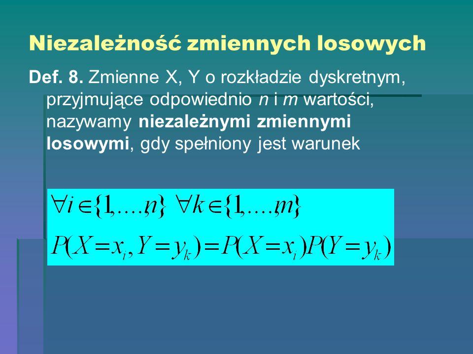 Niezależność zmiennych losowych Def. 8. Zmienne X, Y o rozkładzie dyskretnym, przyjmujące odpowiednio n i m wartości, nazywamy niezależnymi zmiennymi