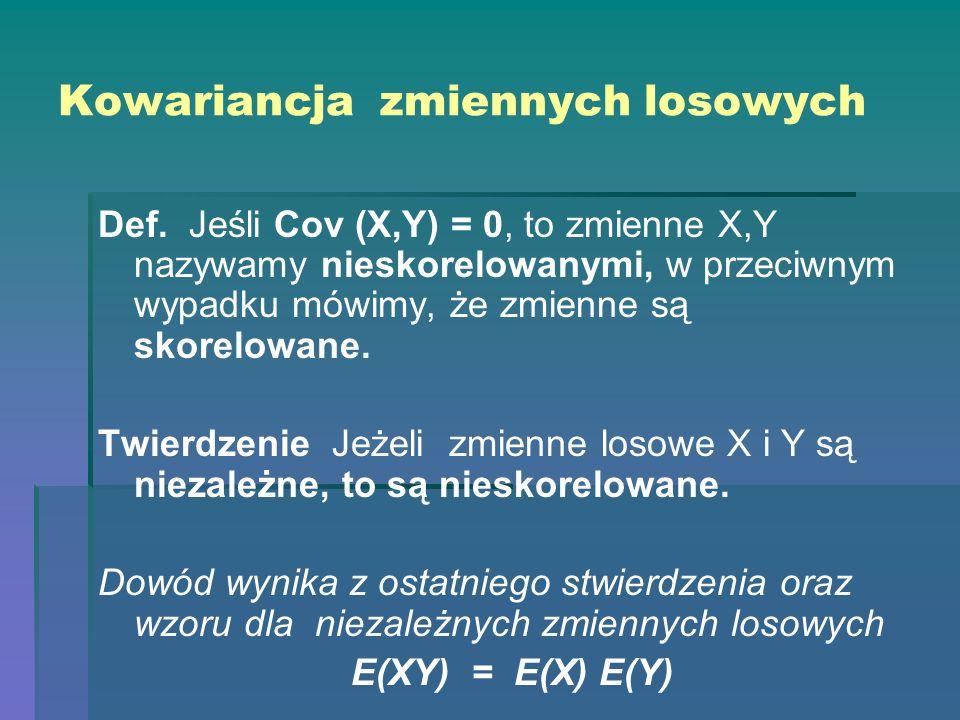 Kowariancja zmiennych losowych Def. Jeśli Cov (X,Y) = 0, to zmienne X,Y nazywamy nieskorelowanymi, w przeciwnym wypadku mówimy, że zmienne są skorelow