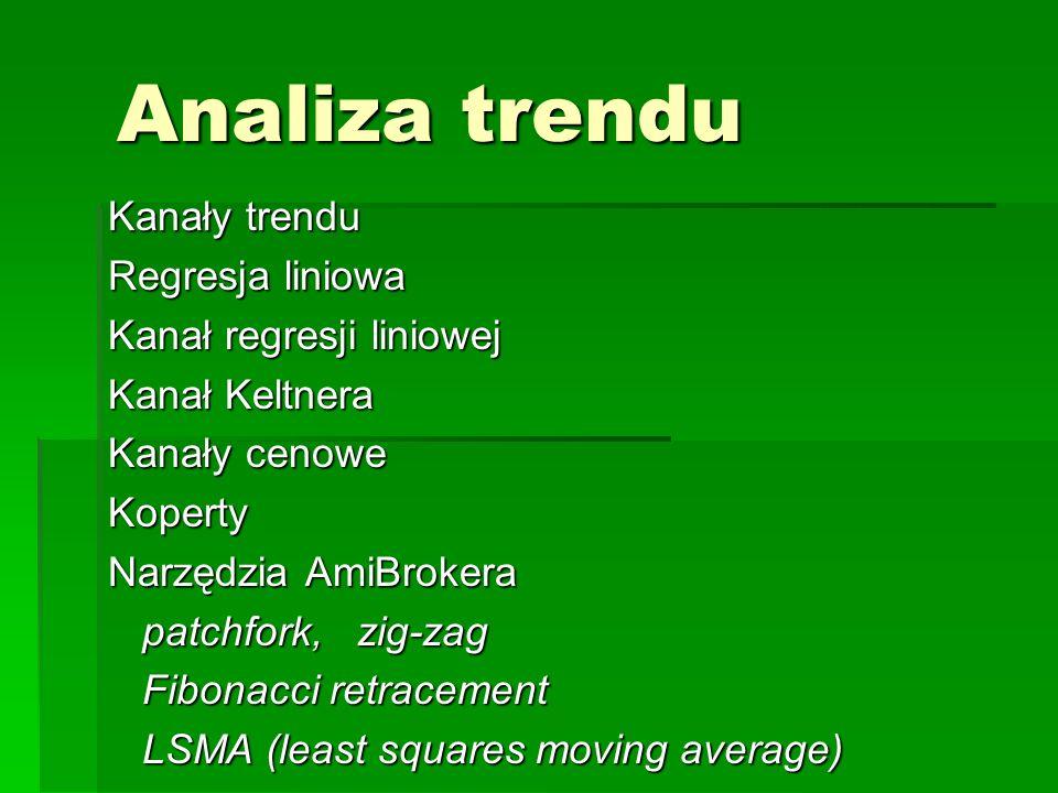 Analiza trendu Kanały trendu Regresja liniowa Kanał regresji liniowej Kanał Keltnera Kanały cenowe Koperty Narzędzia AmiBrokera patchfork, zig-zag pat