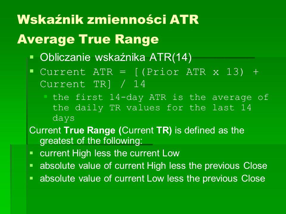 Wskaźnik zmienności ATR Average True Range Obliczanie wskaźnika ATR(14) Current ATR = [(Prior ATR x 13) + Current TR] / 14 the first 14-day ATR is the