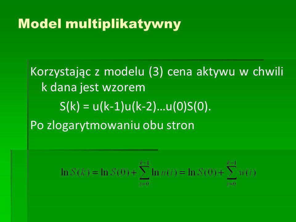 Model multiplikatywny Korzystając z modelu (3) cena aktywu w chwili k dana jest wzorem S(k) = u(k-1)u(k-2)…u(0)S(0). Po zlogarytmowaniu obu stron