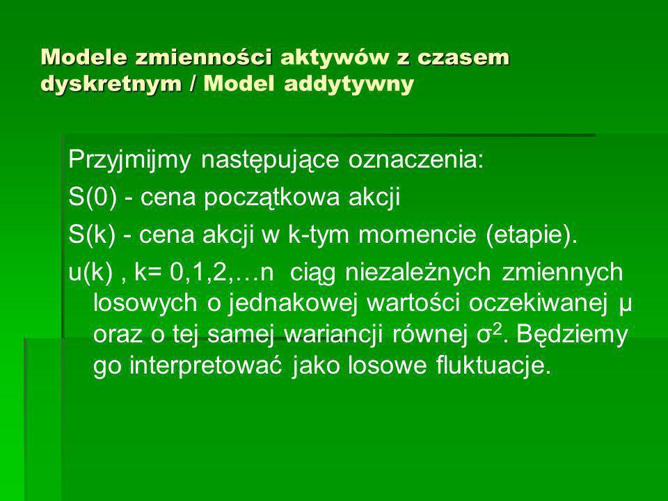 Modele zmienności z czasem dyskretnym / Modele zmienności aktywów z czasem dyskretnym / Model addytywny Przyjmijmy następujące oznaczenia: S(0) - cena