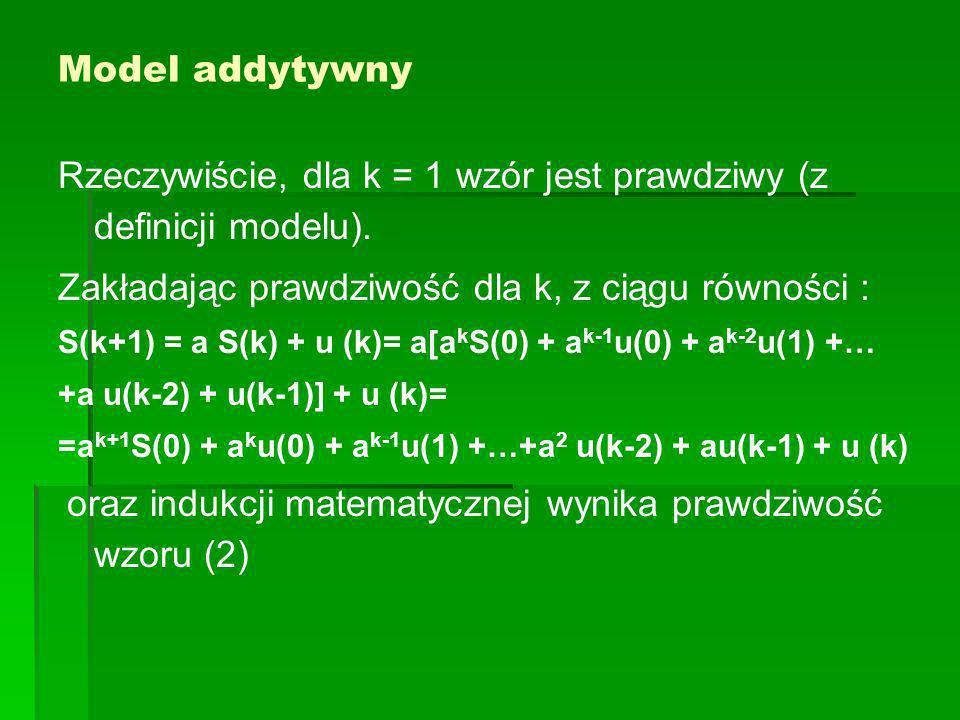 Model addytywny Rzeczywiście, dla k = 1 wzór jest prawdziwy (z definicji modelu).