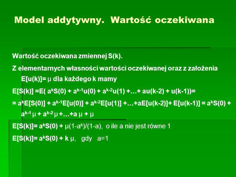 Model addytywny. Wartość oczekiwana Wartość oczekiwana zmiennej S(k). Z elementarnych własności wartości oczekiwanej oraz z założenia E[u(k)]= μ dla k