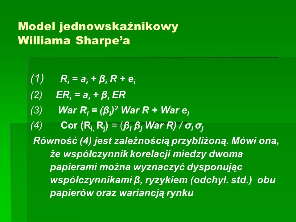 Model jednowskaźnikowy Williama Sharpea (1) R i = a i + β i R + e i (2) ER i = a i + β i ER (3) War R i = (β i ) 2 War R + War e i (4) Cor (R i, R j ) = (β i β j War R) / σ i σ j Równość (4) jest zależnością przybliżoną.