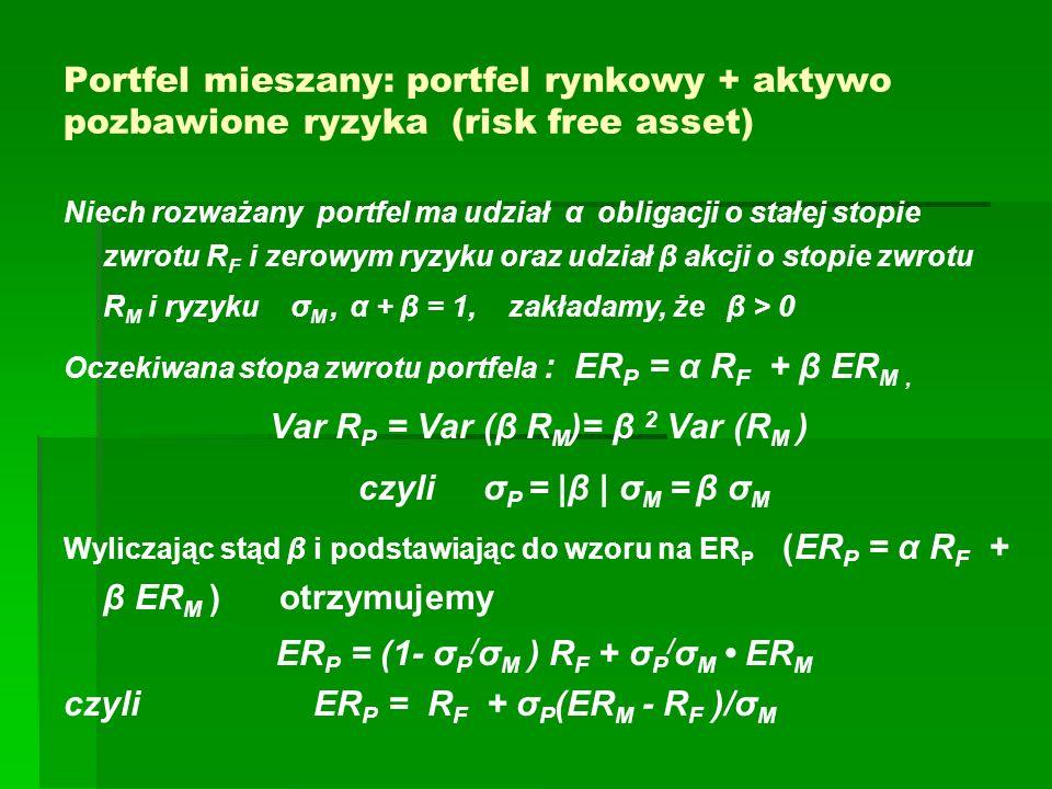 Portfel mieszany: portfel rynkowy + aktywo pozbawione ryzyka (risk free asset) Niech rozważany portfel ma udział α obligacji o stałej stopie zwrotu R F i zerowym ryzyku oraz udział β akcji o stopie zwrotu R M i ryzyku σ M, α + β = 1, zakładamy, że β > 0 Oczekiwana stopa zwrotu portfela : ER P = α R F + β ER M, Var R P = Var (β R M )= β 2 Var (R M ) czyli σ P = |β | σ M = β σ M Wyliczając stąd β i podstawiając do wzoru na ER P (ER P = α R F + β ER M ) otrzymujemy ER P = (1- σ P / σ M ) R F + σ P / σ M ER M czyli ER P = R F + σ P (ER M - R F )/σ M