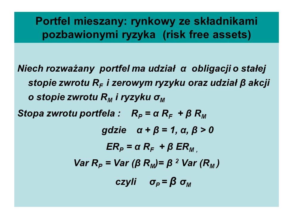 Portfel mieszany: rynkowy ze składnikami pozbawionymi ryzyka (risk free assets) Niech rozważany portfel ma udział α obligacji o stałej stopie zwrotu R F i zerowym ryzyku oraz udział β akcji o stopie zwrotu R M i ryzyku σ M Stopa zwrotu portfela : R P = α R F + β R M gdzie α + β = 1, α, β > 0 ER P = α R F + β ER M, Var R P = Var (β R M )= β 2 Var (R M ) czyli σ P = β σ M