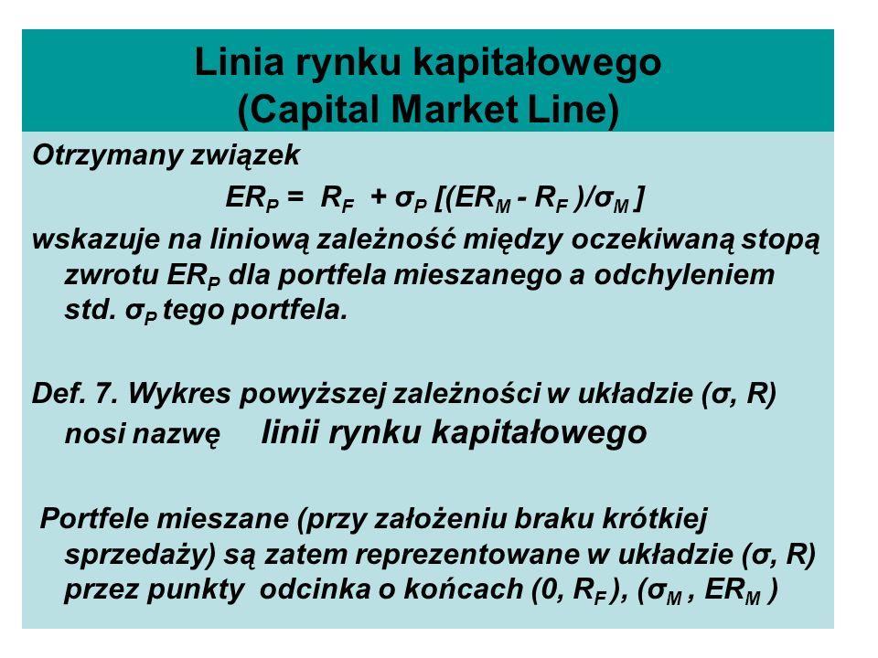 Linia rynku kapitałowego (Capital Market Line) Otrzymany związek ER P = R F + σ P [(ER M - R F )/σ M ] wskazuje na liniową zależność między oczekiwaną stopą zwrotu ER P dla portfela mieszanego a odchyleniem std.