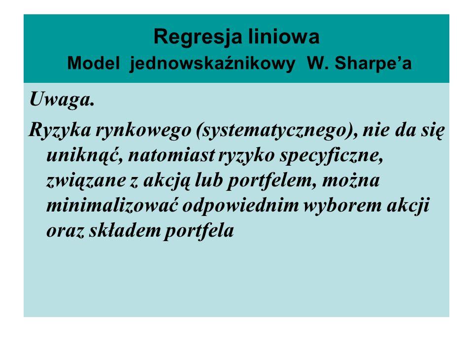 Regresja liniowa Model jednowskaźnikowy W.Sharpea Uwaga.