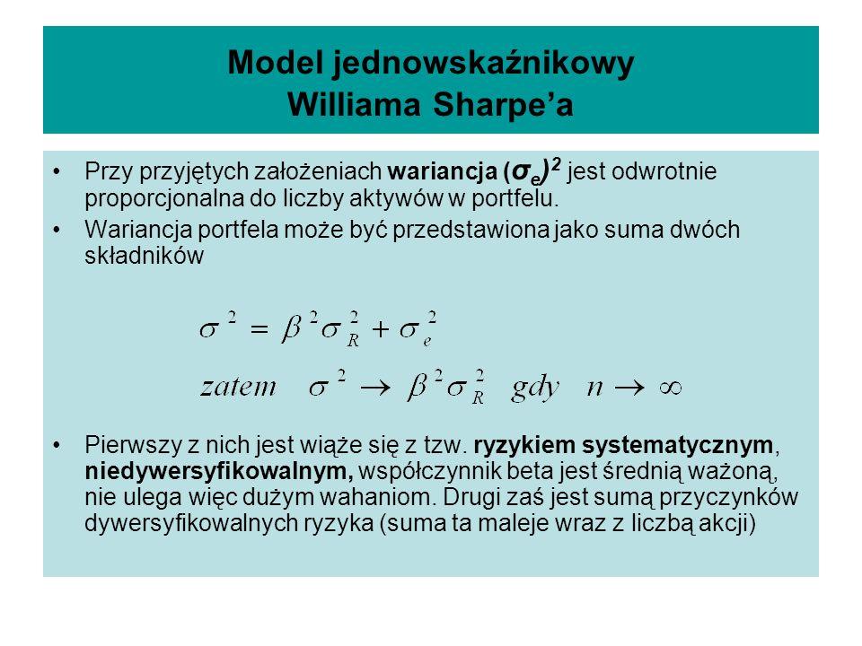 Model jednowskaźnikowy Williama Sharpea Przy przyjętych założeniach wariancja ( σ e ) 2 jest odwrotnie proporcjonalna do liczby aktywów w portfelu.