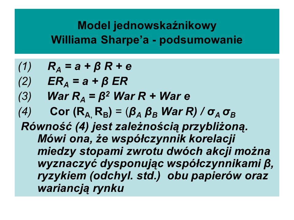 Model jednowskaźnikowy Williama Sharpea - podsumowanie (1) R A = a + β R + e (2) ER A = a + β ER (3) War R A = β 2 War R + War e (4) Cor (R A, R B ) = (β A β B War R) / σ A σ B Równość (4) jest zależnością przybliżoną.