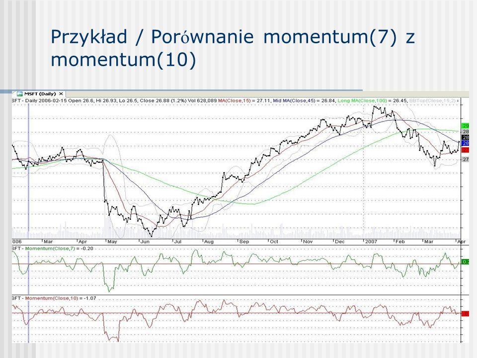 Przykład / Por ó wnanie momentum(7) z momentum(10)