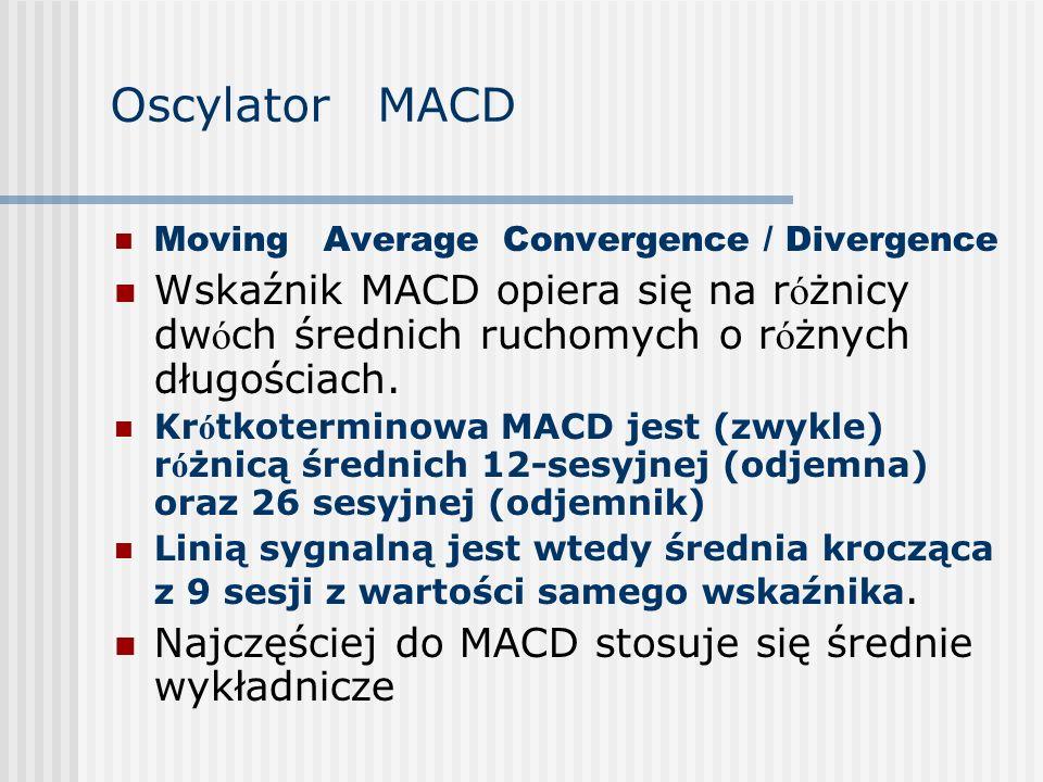 Oscylator MACD Moving Average Convergence / Divergence Wskaźnik MACD opiera się na r ó żnicy dw ó ch średnich ruchomych o r ó żnych długościach. Kr ó