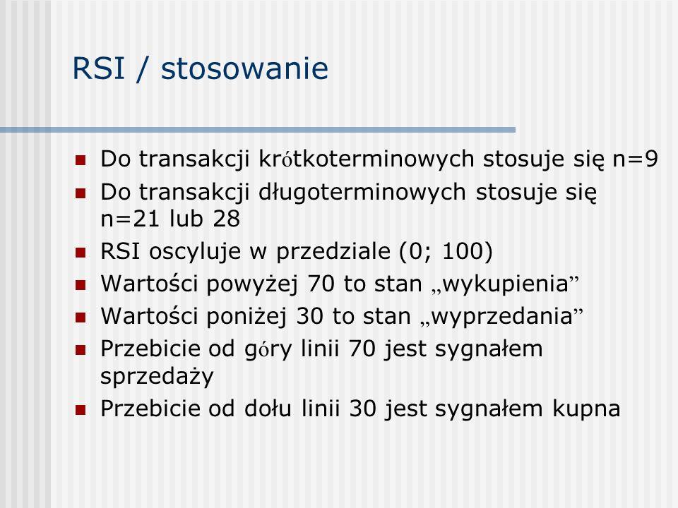 RSI / stosowanie Do transakcji kr ó tkoterminowych stosuje się n=9 Do transakcji długoterminowych stosuje się n=21 lub 28 RSI oscyluje w przedziale (0