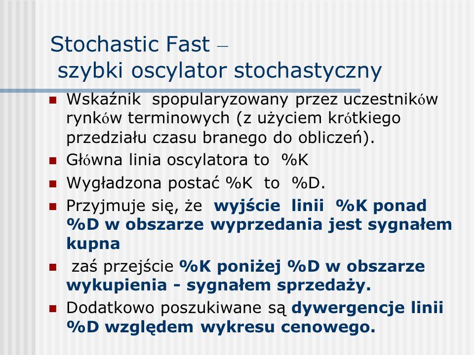 Stochastic Fast – szybki oscylator stochastyczny Wskaźnik spopularyzowany przez uczestnik ó w rynk ó w terminowych (z użyciem kr ó tkiego przedziału c