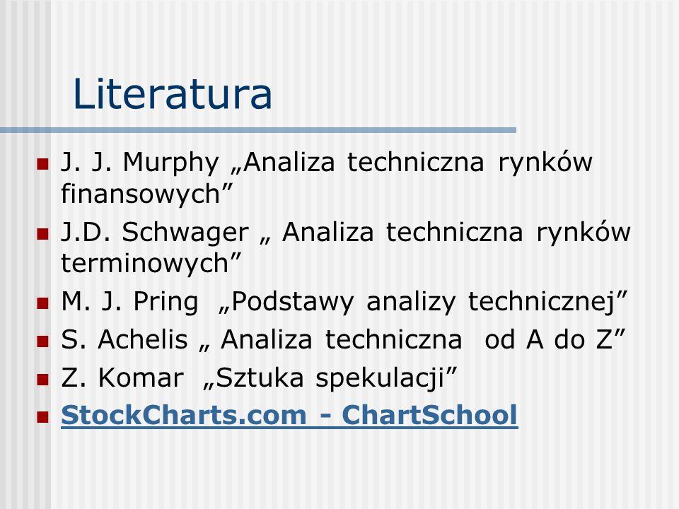 Literatura J. J. Murphy Analiza techniczna rynków finansowych J.D. Schwager Analiza techniczna rynków terminowych M. J. Pring Podstawy analizy technic
