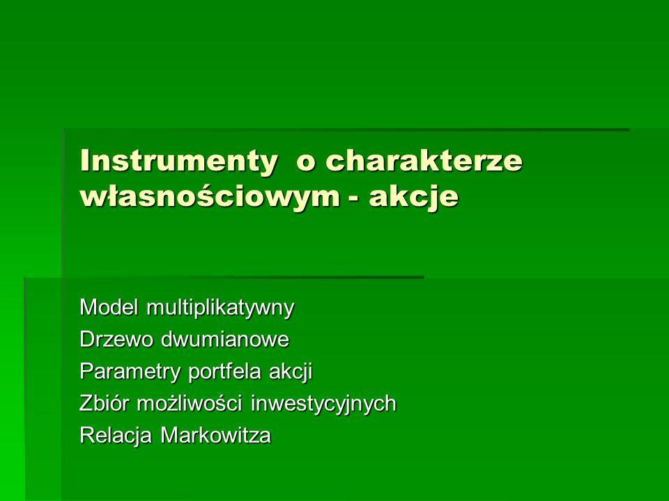 Instrumenty o charakterze własnościowym - akcje Model multiplikatywny Drzewo dwumianowe Parametry portfela akcji Zbiór możliwości inwestycyjnych Relac