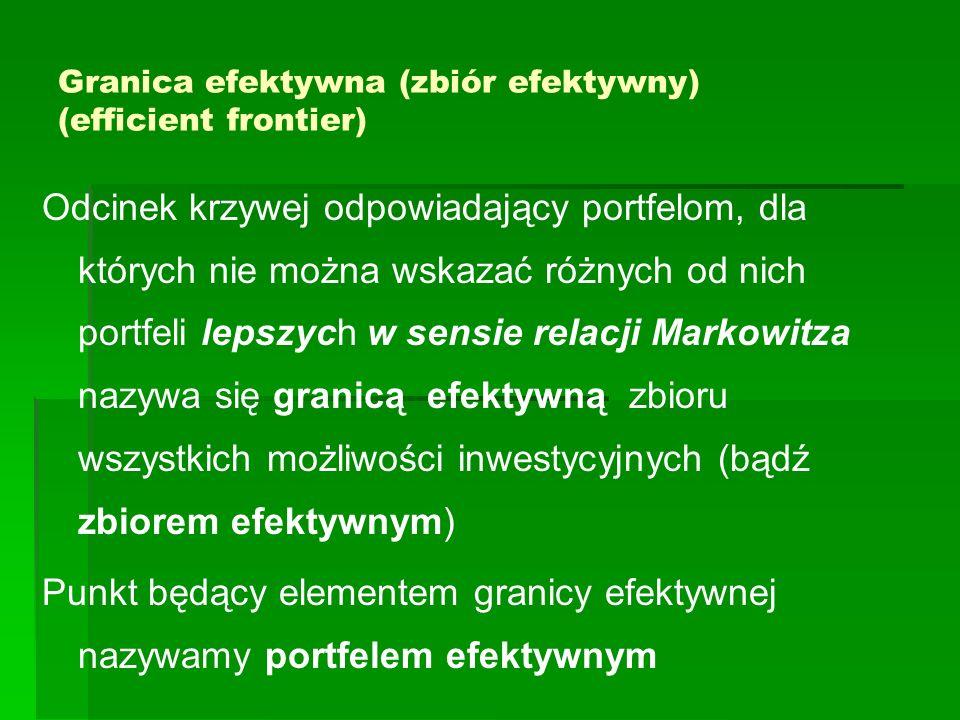 Granica efektywna (zbiór efektywny) (efficient frontier) Odcinek krzywej odpowiadający portfelom, dla których nie można wskazać różnych od nich portfe