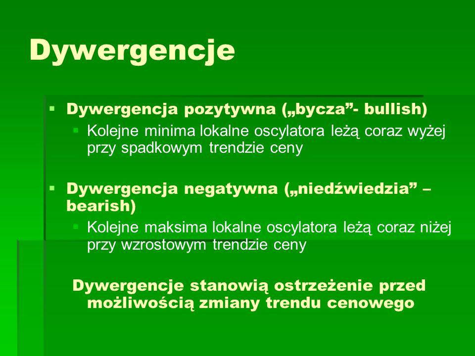 Dywergencje Dywergencja pozytywna (bycza- bullish) Kolejne minima lokalne oscylatora leżą coraz wyżej przy spadkowym trendzie ceny Dywergencja negatyw