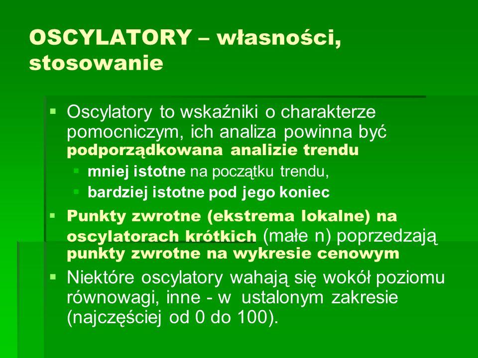 OSCYLATORY – własności, stosowanie Oscylatory to wskaźniki o charakterze pomocniczym, ich analiza powinna być podporządkowana analizie trendu mniej is