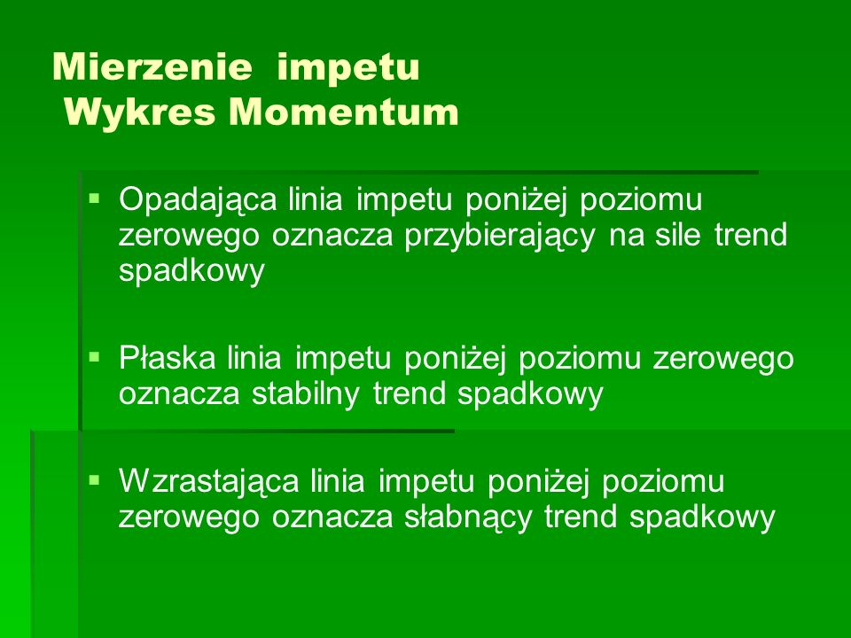 Mierzenie impetu Wykres Momentum Opadająca linia impetu poniżej poziomu zerowego oznacza przybierający na sile trend spadkowy Płaska linia impetu poni