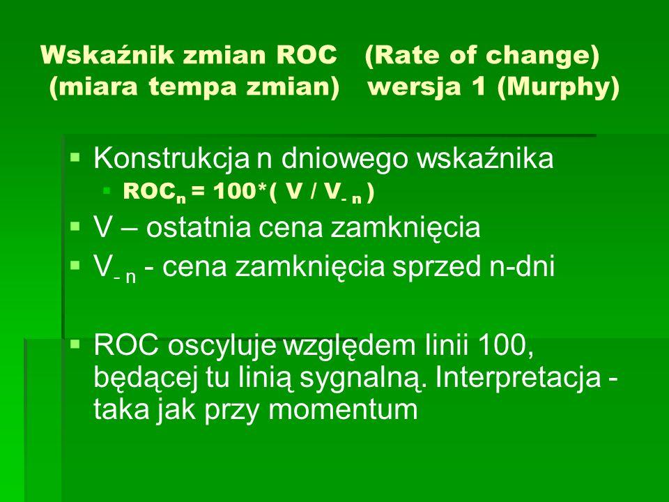 Wskaźnik zmian ROC (Rate of change) (miara tempa zmian) wersja 1 (Murphy) Konstrukcja n dniowego wskaźnika ROC n = 100*( V / V - n ) V – ostatnia cena