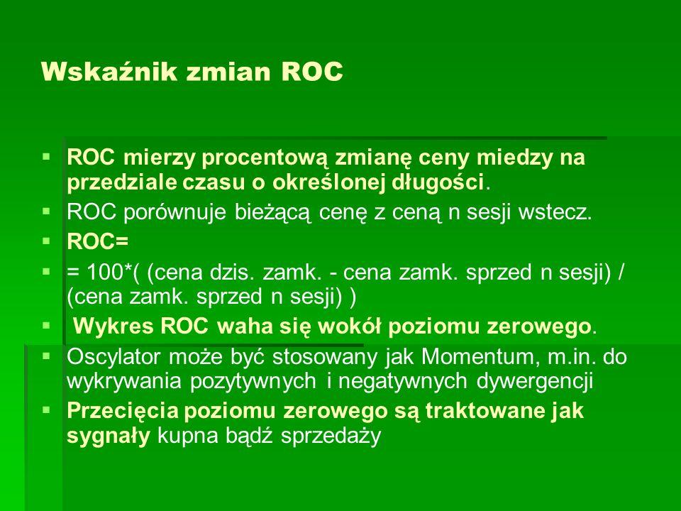 Wskaźnik zmian ROC ROC mierzy procentową zmianę ceny miedzy na przedziale czasu o określonej długości. ROC porównuje bieżącą cenę z ceną n sesji wstec