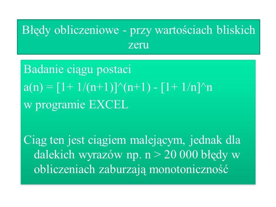 Błędy obliczeniowe - przy wartościach bliskich zeru Badanie ciągu postaci a(n) = [1+ 1/(n+1)]^(n+1) - [1+ 1/n]^n w programie EXCEL Ciąg ten jest ciągi