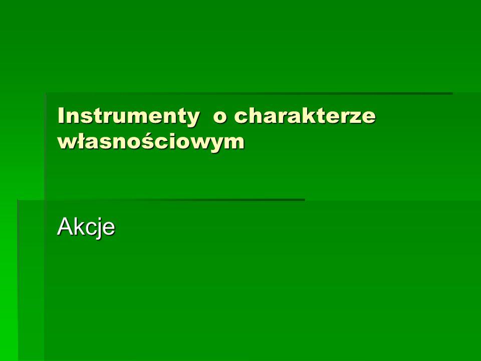 Instrumenty o charakterze własnościowym Akcje