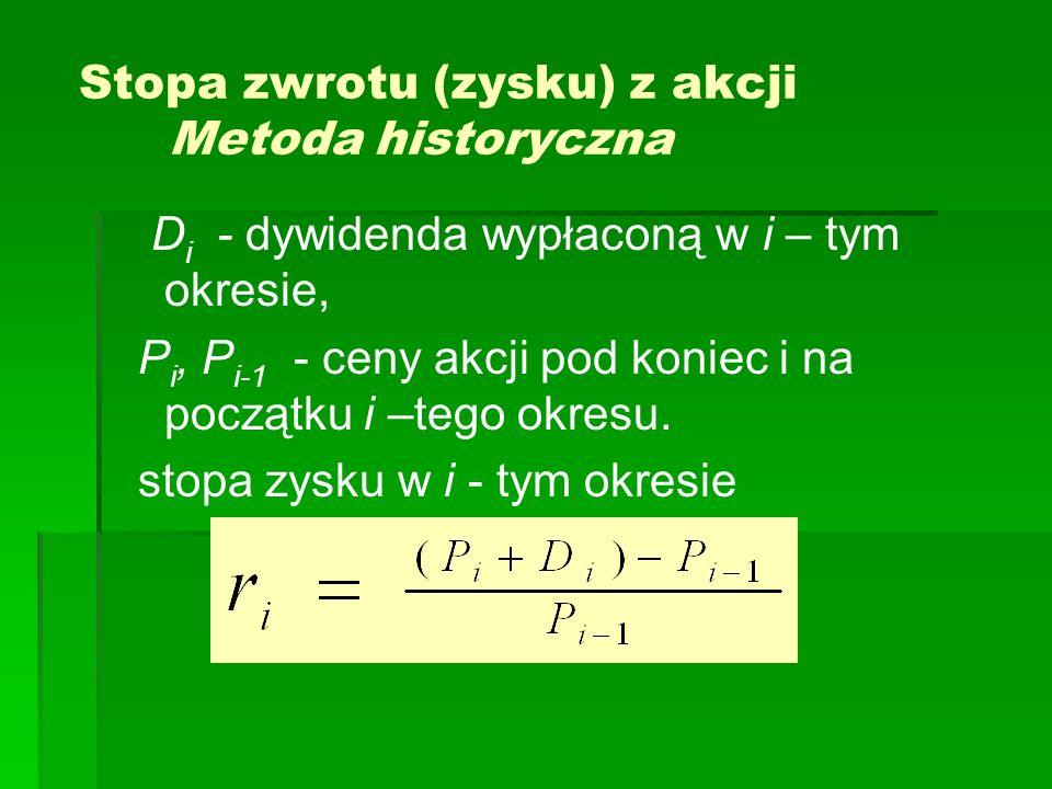 Stopa zwrotu (zysku) z akcji Metoda historyczna D i - dywidenda wypłaconą w i – tym okresie, P i, P i-1 - ceny akcji pod koniec i na początku i –tego
