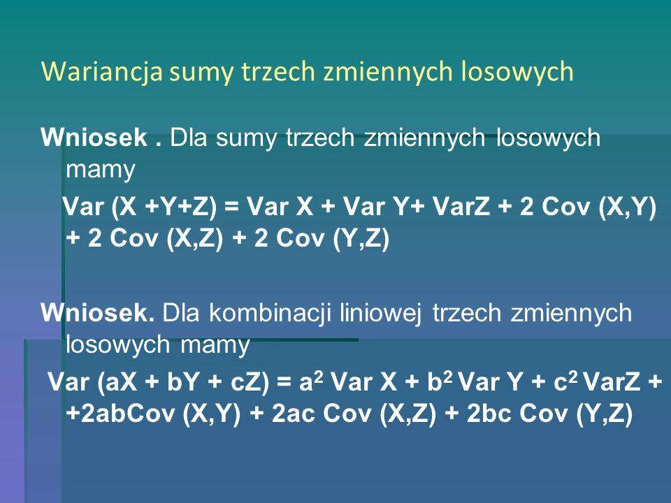 Wariancja sumy trzech zmiennych losowych Wniosek. Dla sumy trzech zmiennych losowych mamy Var (X +Y+Z) = Var X + Var Y+ VarZ + 2 Cov (X,Y) + 2 Cov (X,