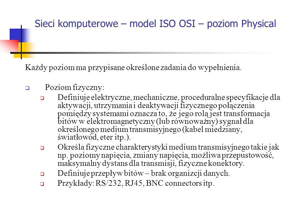 Sieci komputerowe – model ISO OSI – poziom Physical Każdy poziom ma przypisane określone zadania do wypełnienia. Poziom fizyczny: Definiuje elektryczn