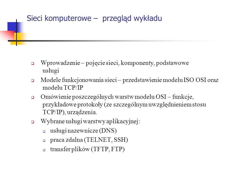Sieci komputerowe – przegląd wykładu Wprowadzenie – pojęcie sieci, komponenty, podstawowe usługi Modele funkcjonowania sieci – przedstawienie modelu I