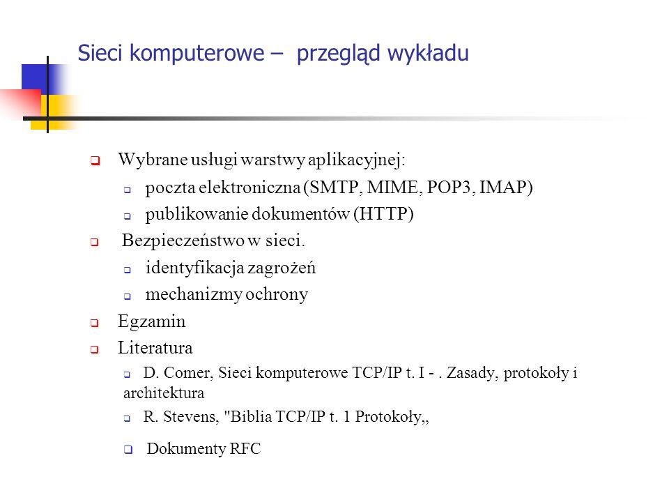 Sieci komputerowe – przegląd wykładu Wybrane usługi warstwy aplikacyjnej: poczta elektroniczna (SMTP, MIME, POP3, IMAP) publikowanie dokumentów (HTTP)