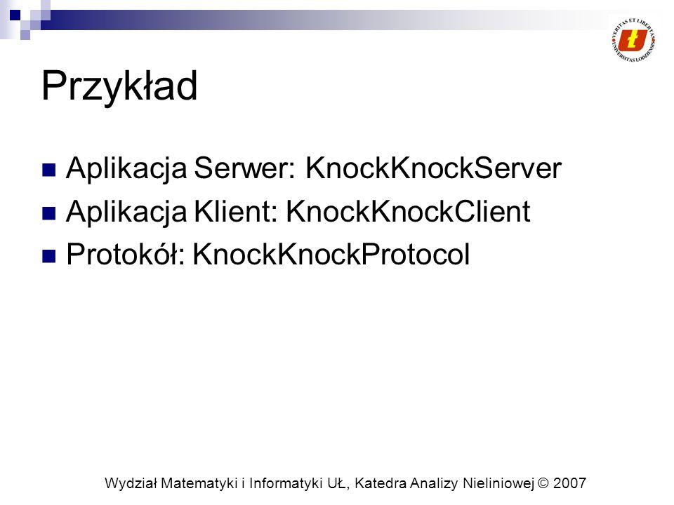 Wydział Matematyki i Informatyki UŁ, Katedra Analizy Nieliniowej © 2007 Przykład Aplikacja Serwer: KnockKnockServer Aplikacja Klient: KnockKnockClient