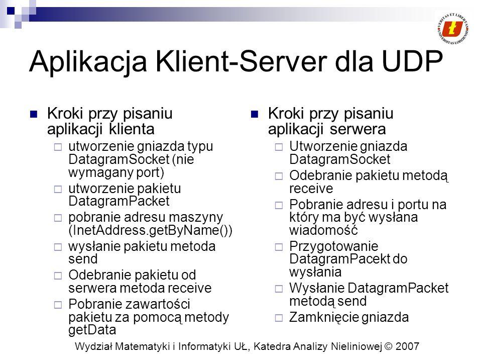 Wydział Matematyki i Informatyki UŁ, Katedra Analizy Nieliniowej © 2007 Aplikacja Klient-Server dla UDP Kroki przy pisaniu aplikacji klienta utworzeni