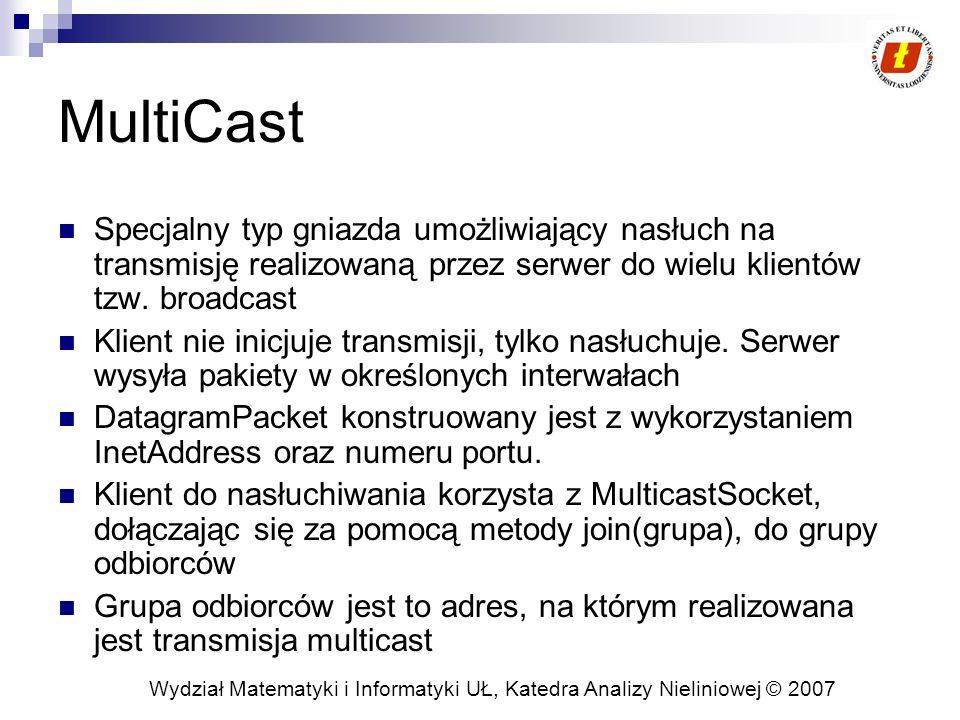 Wydział Matematyki i Informatyki UŁ, Katedra Analizy Nieliniowej © 2007 MultiCast Specjalny typ gniazda umożliwiający nasłuch na transmisję realizowan