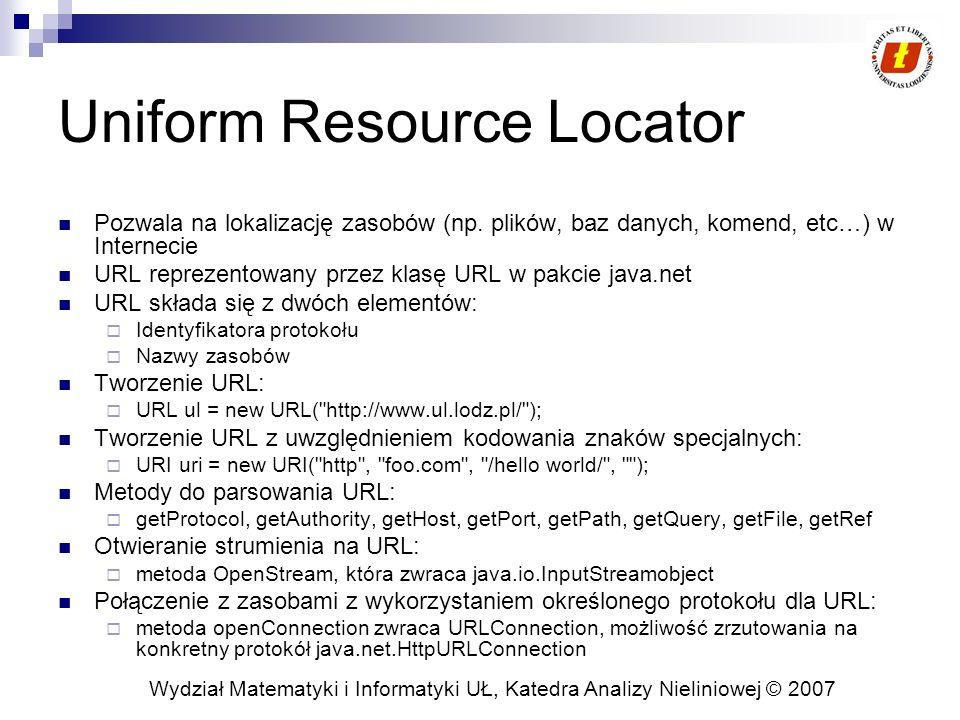Wydział Matematyki i Informatyki UŁ, Katedra Analizy Nieliniowej © 2007 Uniform Resource Locator Pozwala na lokalizację zasobów (np. plików, baz danyc