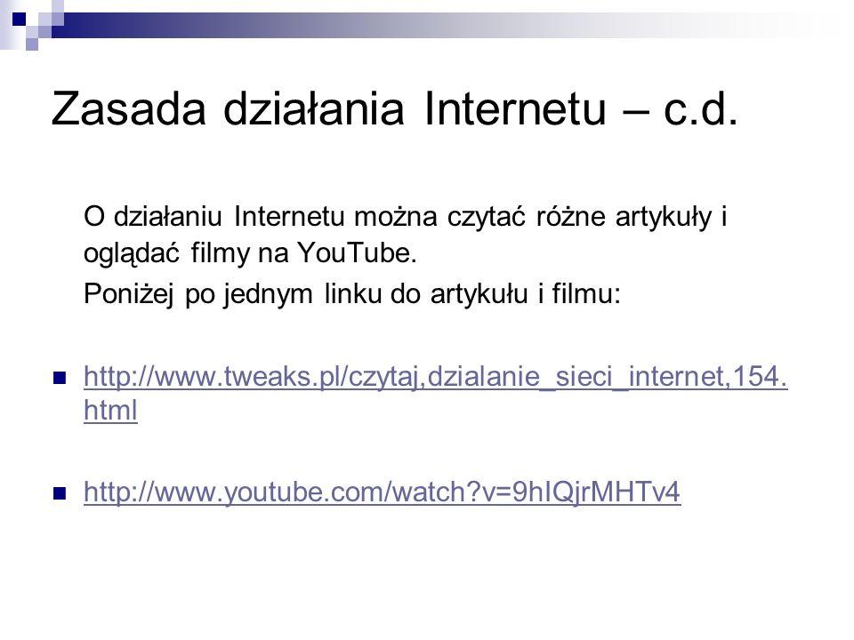 Zasada działania Internetu – c.d. O działaniu Internetu można czytać różne artykuły i oglądać filmy na YouTube. Poniżej po jednym linku do artykułu i