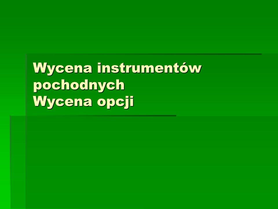 Wycena instrumentów pochodnych Wycena opcji