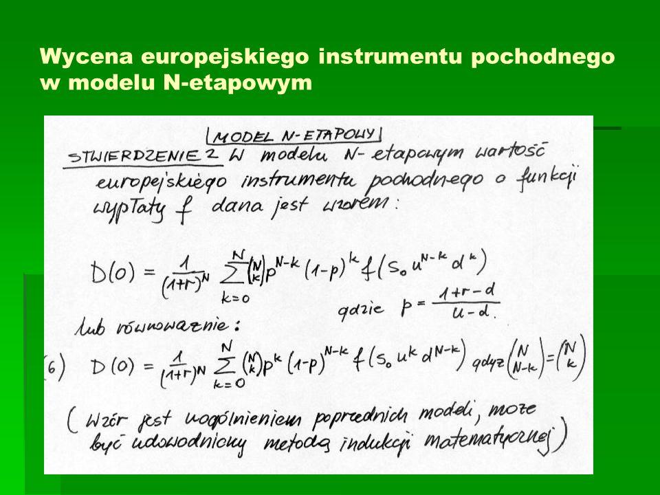 Wycena europejskiego instrumentu pochodnego w modelu N-etapowym