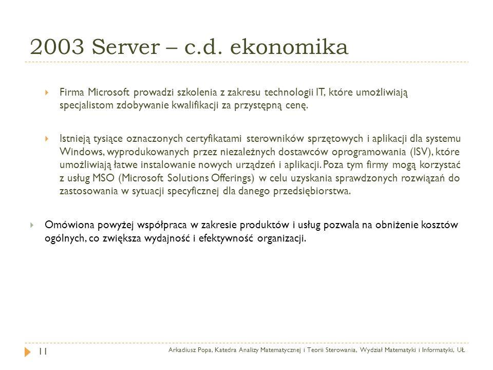 2003 Server – c.d. ekonomika Arkadiusz Popa, Katedra Analizy Matematycznej i Teorii Sterowania, Wydział Matematyki i Informatyki, UŁ 11 Firma Microsof