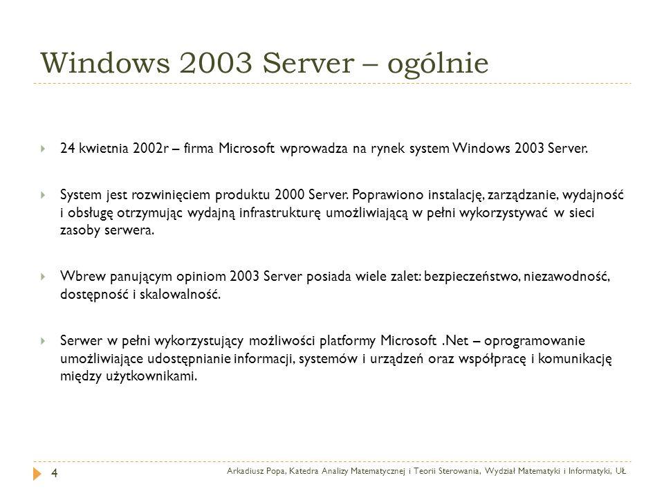 Windows 2003 Server – ogólnie Arkadiusz Popa, Katedra Analizy Matematycznej i Teorii Sterowania, Wydział Matematyki i Informatyki, UŁ 4 24 kwietnia 20