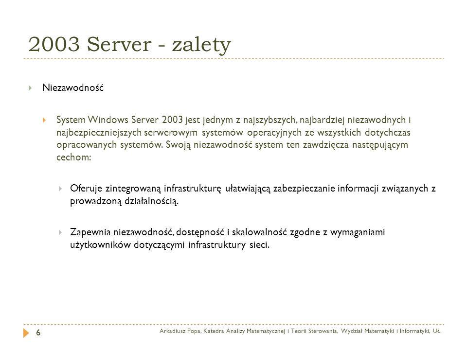 2003 Server - zalety Arkadiusz Popa, Katedra Analizy Matematycznej i Teorii Sterowania, Wydział Matematyki i Informatyki, UŁ 6 Niezawodność System Win