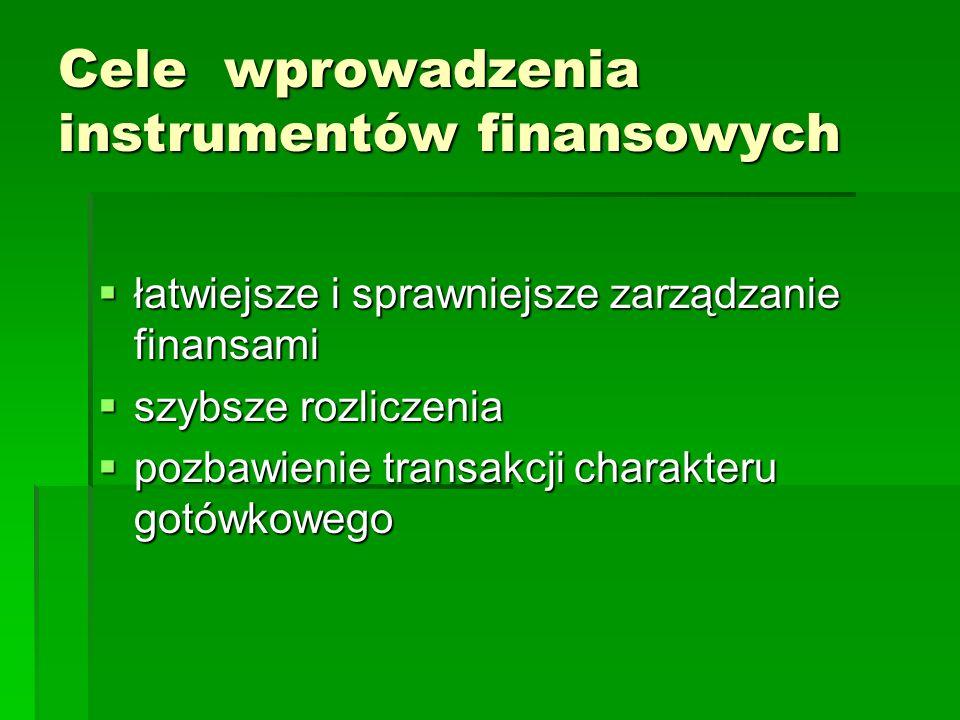 Cele wprowadzenia instrumentów finansowych łatwiejsze i sprawniejsze zarządzanie finansami łatwiejsze i sprawniejsze zarządzanie finansami szybsze rozliczenia szybsze rozliczenia pozbawienie transakcji charakteru gotówkowego pozbawienie transakcji charakteru gotówkowego