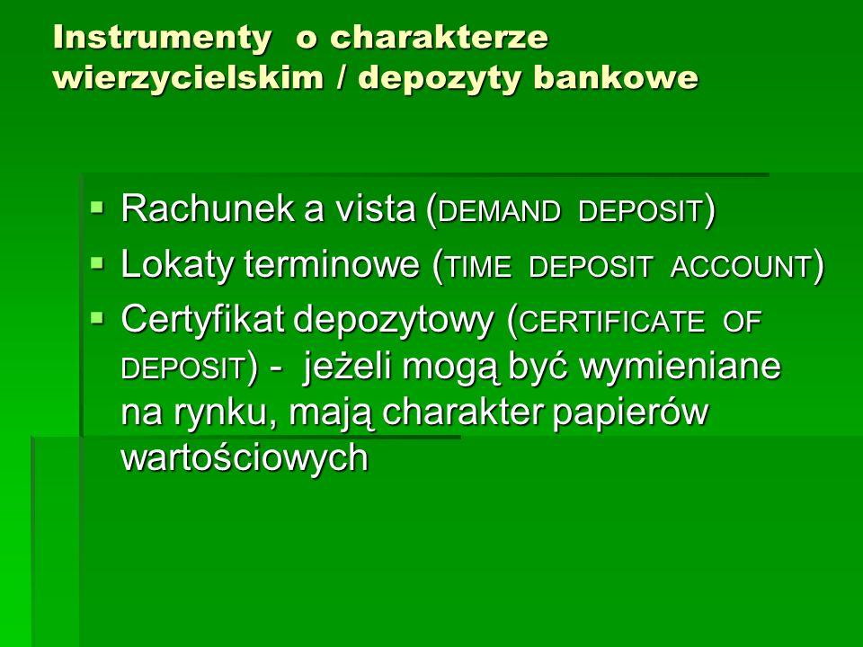 Instrumenty o charakterze wierzycielskim / depozyty bankowe Rachunek a vista ( DEMAND DEPOSIT ) Rachunek a vista ( DEMAND DEPOSIT ) Lokaty terminowe ( TIME DEPOSIT ACCOUNT ) Lokaty terminowe ( TIME DEPOSIT ACCOUNT ) Certyfikat depozytowy ( CERTIFICATE OF DEPOSIT ) - jeżeli mogą być wymieniane na rynku, mają charakter papierów wartościowych Certyfikat depozytowy ( CERTIFICATE OF DEPOSIT ) - jeżeli mogą być wymieniane na rynku, mają charakter papierów wartościowych